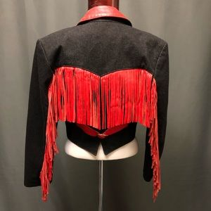 Vintage leather fringe n denim cropped jean jacket